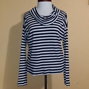 Gap Navy blue & White Striped Cowl Neck Sweater S